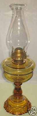 ANTIQUE AMBER ADAMS APOLLO PATTERN GLASS KEROSENE LAMP