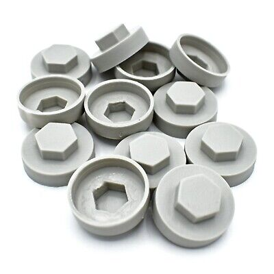 100 x GOOSEWING GREY HEX TEK 16mm CORRUGATED ROOFING & CLADDING SCREW CAPS *