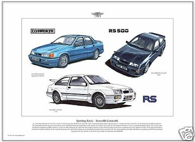 FORD SIERRA RS COSWORTH - Fine Art Print - Sierra Sapphire & RS500 illustrated