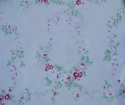 Yuwa Vintage Appeal Romantic Garlands of Roses on Pink Cotton Fabric BTY