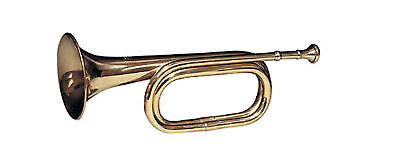 "Brass Calvary Bugle  13"" Long - Mouth Piece Included - B Flat Key"