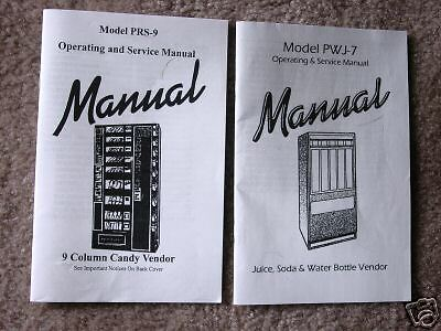 Antares Combo Vending Soda Snack Operating Manuals Set