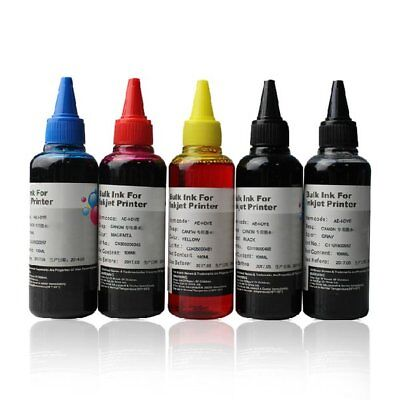 5 x 100ml Bottle Ink for 5 COLOR CANON CISS & CARTRIDGE