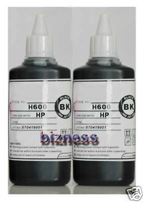 2 x 100ml BOTTLES BLACK PIGMENT INK for HP REFILL +
