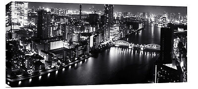 "CITY SCENE CANVAS ART CITYSCAPE BLACK AND WHITE 44""x20"""