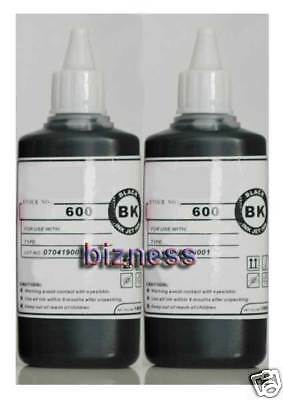 2 x 100ml BOTTLES BLACK PIGMENT INK for EPSON REFILL +