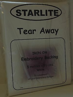 Starlite Tear Away Embroidery Backing / Stabliser - Iron On 5mtrs x 90cms - A985