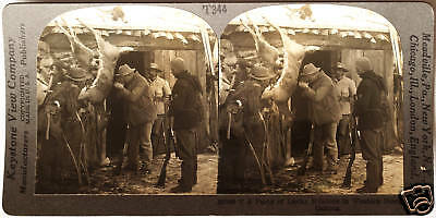 Keystone Stereoview a Hunting Party, Deer, Rifles +, MT from the 1930's T400 Set