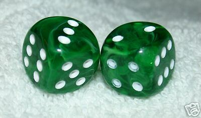 Green Marbled Dice Pair