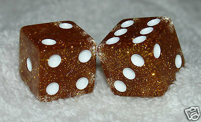 Orange Glitter Transparent Dice Pair