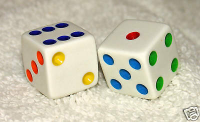 Multi-Colored Opaque Dice Pair