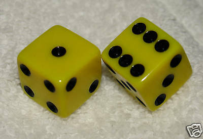 Yellow Opaque Dice Pair