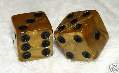 Gold Metalic Colored Dice Pair