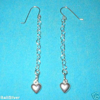 6 pairs St Silver HEART Dangle EARRINGS w/ HEART Charms