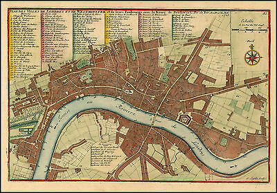 Nicholas De Fer Reproduction Antique Old Map Plan Westminster London England NEW