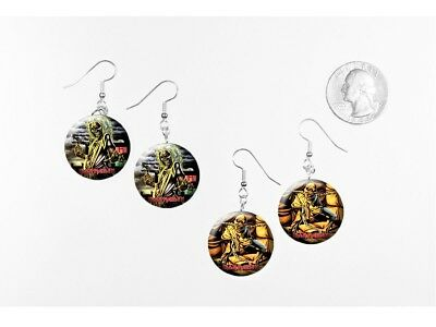 Iron Maiden Heavy Metal Eddie 2 pairs of button charm EARRINGS