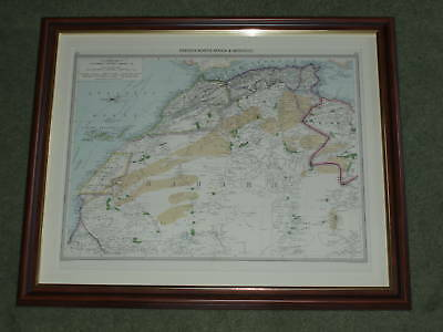 Print over 100 year old Map North Africa Morocco Sahara