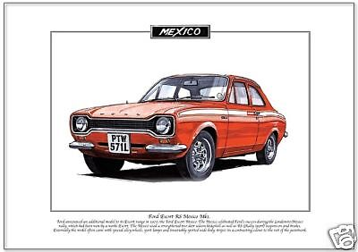 Fine Art Print A3 size FORD ESCORT MK2 RS Mexico RS2000 /& RS1800 illustrated