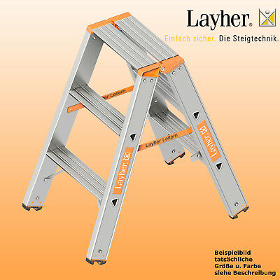 Layher Alu Stufenstehleiter, 2x3 Stuf., L=0,75m, Bockleiter, Topic Typ 1043.003