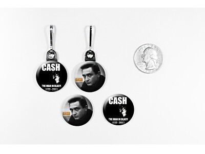 Johnny Cash Man in Black Counrty Rock zipper pulls w/matching buttons
