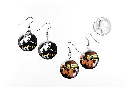 Tom Waits American singer-songwriter composer 2 pairs of button charm EARRINGS