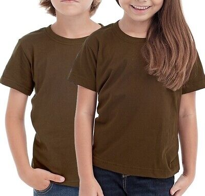 Plain BROWN Childrens Kids Boys Girls Childs Cotton Tee T-Shirt Tshirt