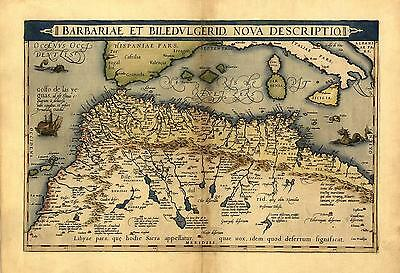 Northern Africa Morocco Tunisia Libya Reproduction Antique Old Ortelius Map NEW
