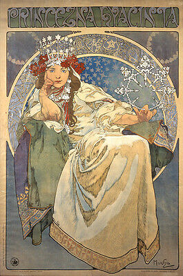 5 Greeting Cards Vintage Alfons Mucha Art Nouveau Deco Style Pictures Paintings