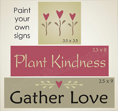 Joanie Stencil Plant Kindness Gather Love Prim Heart Flower Country Family Block