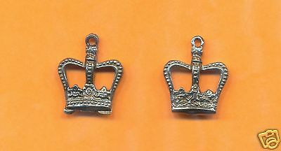 100 wholesale lead free pewter crown charms 1147