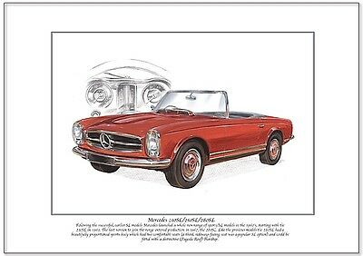 MERCEDES 230SL / 250SL / 280SL Fine Art Print A4 size - German Sports Car image