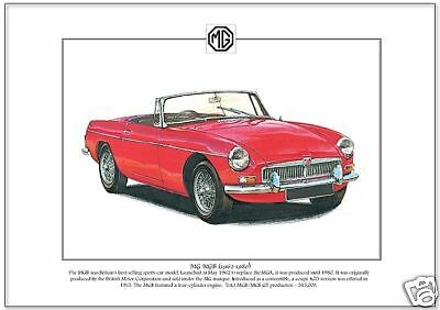 MG MGB (1962-80) - Fine Art Print - A4 size picture BMC Convertible Sports Car