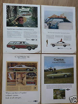 Lot of 4 Chevy Caprice Auto Car Ads from 1960's Ad Set