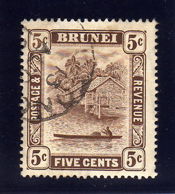 BRUNEI 1924-37 5c RETOUCH SG 68a FINE USED.