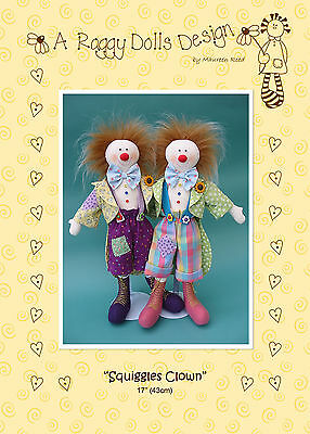 SQUIGGLES CLOWN - Sewing Craft PATTERN - Cloth Rag Doll Clowns