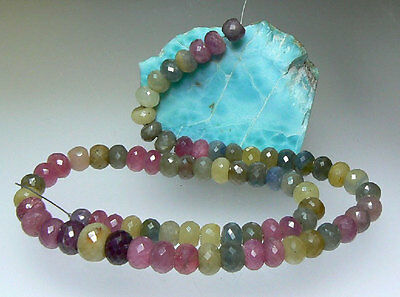 "RARE NATURAL FACETED PINK BLUE GREEN SAPPHIRE BEADs 16.5"" STRAND 359.5ct 5-11mm"