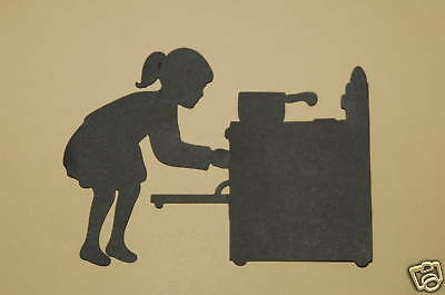 Cricut Girl Cooking and Oven Silhouette Cardstock Die Cut/Cuts