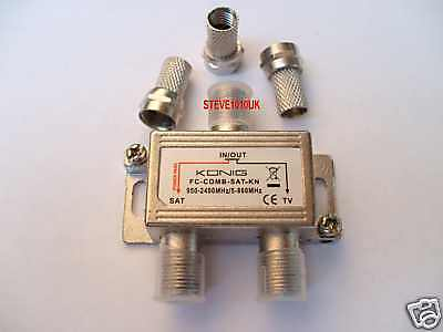 TV Aerial /Satellite  Combiner With 3 F-type Screw Plugs TV/Sat Down Same Lead