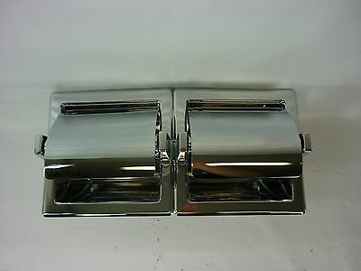 Twin Toilet Paper Holder With Hoods In-Wall Recessed Polished Chrome