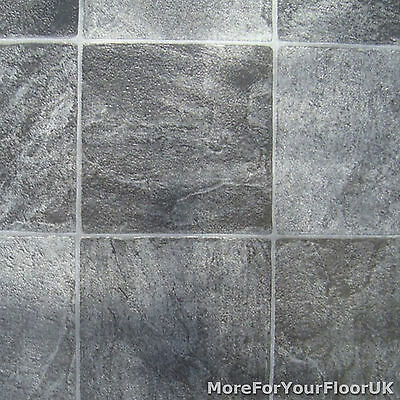 Grey Stone Tile Vinyl Flooring - Kitchen Bathroom Lino