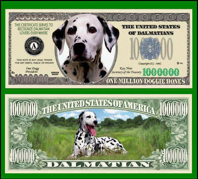 5 Factory Fresh Dalmatian Dog Million Dollar Bills
