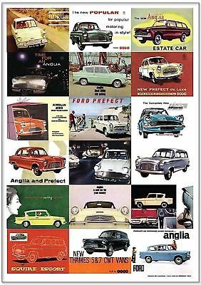 FORD ANGLIA POPULAR PREFECT - Retro Art Print - 100E 105E DeLuxe Estate Adverts