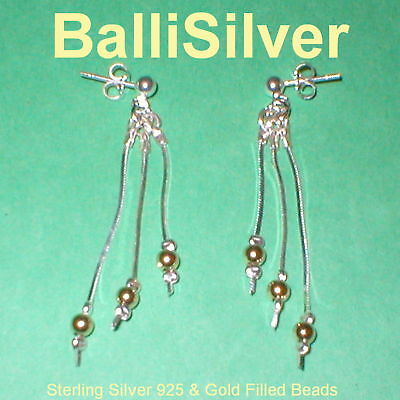 6 pairs Silver & Gold Filled Beads 3 Strand EARRINGS