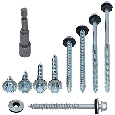 1000 6.3mm (14g) x 75mm CORRUGATED TIMBER TEK TEC ROOFING SCREWS - SELF DRILLING