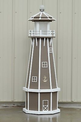 5' Octagon Electric and Solar Powered Poly Wood Lighthouse (Clay/white trim)