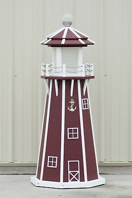 4' Octagon Electric and Solar Powered Poly Lighthouse Cherry/white trim