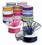 5/8 In 25YD Sheer Organza Ribbon Ivory+Red+Gold++Colors