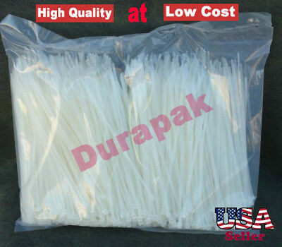 """10000 PCS 4"""" 18 Lbs Natural Nylon Cable Wire Zip Tie Retail Industrial Packaging"""
