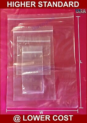 1000~ 2 Mil 3X5 Clear Zip Reclosable Lock Poly Zipper Seal Bag Retail Packaging