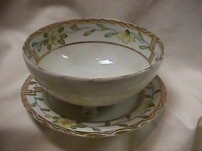 HAND PAINTED MAYO BOWL WITH UNDER DISH-MADE IN JAPAN-SALE